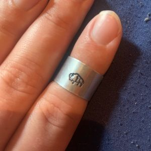 Handmade Buffalo stamped silver midi ring